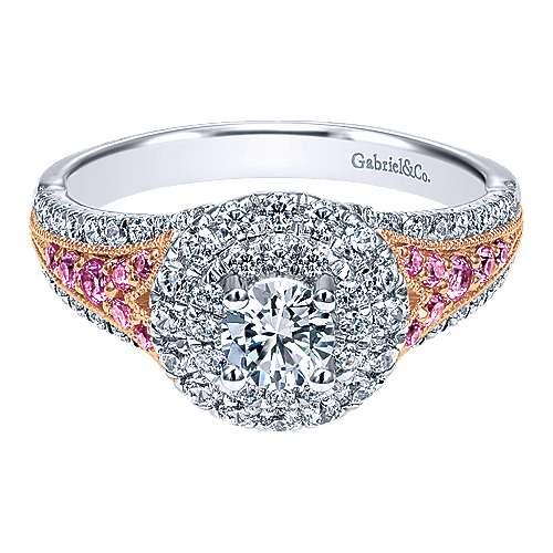 Gabriel - Miracle 14k White And Rose Gold Round Double Halo Engagement Ring