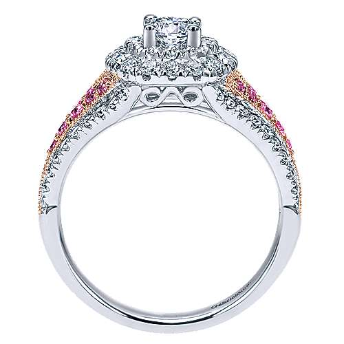 Miracle 14k White And Rose Gold Round Double Halo Engagement Ring angle 2
