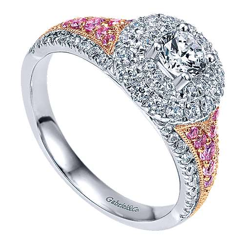 Miracle 14k White And Rose Gold Round Double Halo Engagement Ring angle 3