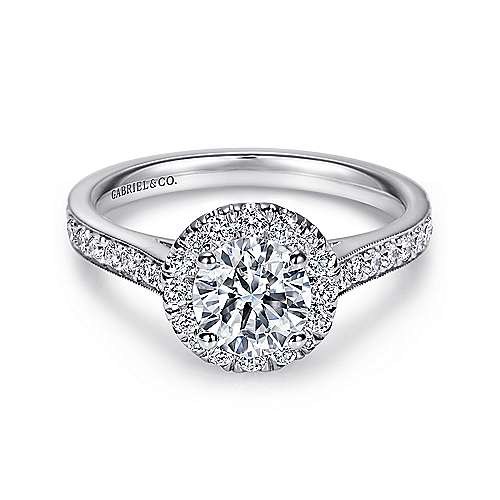Gabriel - Missy 14k White Gold Round Halo Engagement Ring
