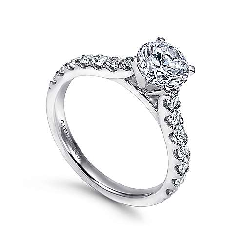 Misty 14k White Gold Round Straight Engagement Ring angle 3