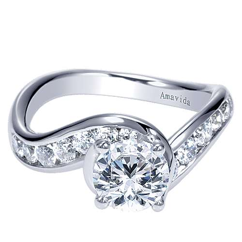 Mita 18k White Gold Round Bypass Engagement Ring angle 1