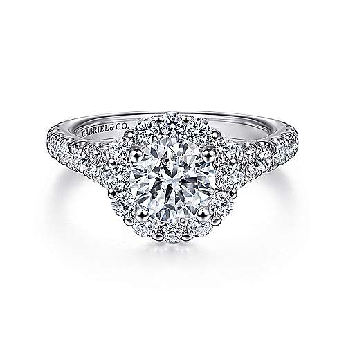 Gabriel - Mona 18k White Gold Round Halo Engagement Ring