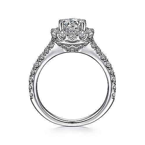Mona 18k White Gold Round Halo Engagement Ring angle 2