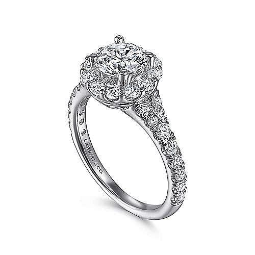 Mona 18k White Gold Round Halo Engagement Ring angle 3