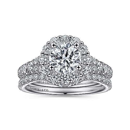 Mona 18k White Gold Round Halo Engagement Ring angle 4