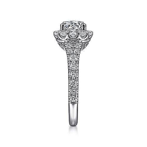 Mona 18k White Gold Round Halo Engagement Ring angle 5
