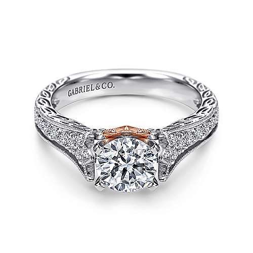 Gabriel - Monica 14k White And Rose Gold Round Straight Engagement Ring