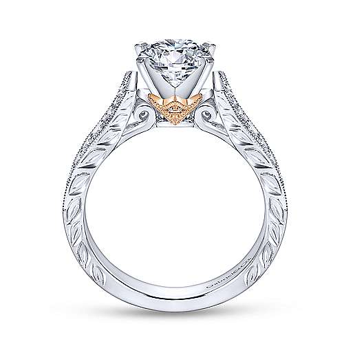 Monica 14k White And Rose Gold Round Straight Engagement Ring angle 2