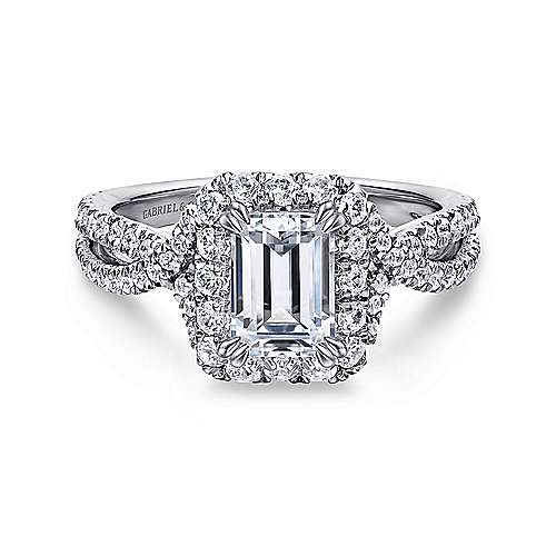 Gabriel - Monique 14k White Gold Emerald Cut Halo Engagement Ring