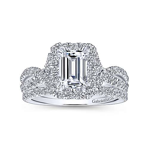 Monique 14k White Gold Emerald Cut Halo Engagement Ring angle 4