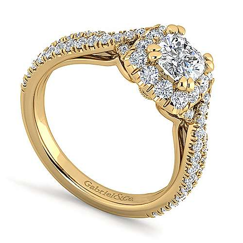 Monique 14k Yellow Gold Cushion Cut Halo Engagement Ring angle 3