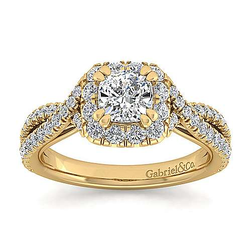 Monique 14k Yellow Gold Cushion Cut Halo Engagement Ring angle 5