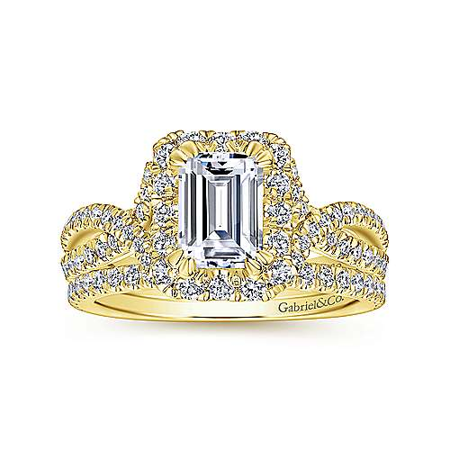Monique 14k Yellow Gold Emerald Cut Halo Engagement Ring angle 4