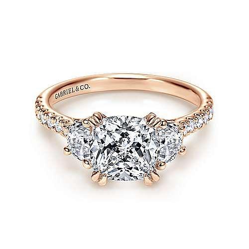 Gabriel - Monroe 14k Rose Gold Cushion Cut 3 Stones Engagement Ring