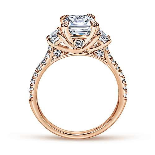 Monroe 14k Rose Gold Cushion Cut 3 Stones Engagement Ring angle 2