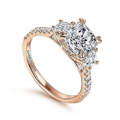 Monroe 14k Rose Gold Cushion Cut 3 Stones Engagement Ring angle 3