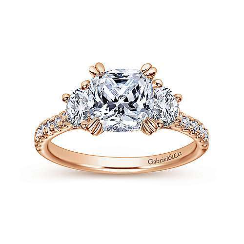 Monroe 14k Rose Gold Cushion Cut 3 Stones Engagement Ring angle 5