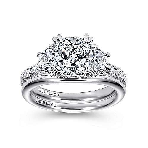 Monroe 14k White Gold Cushion Cut 3 Stones Engagement Ring angle 4