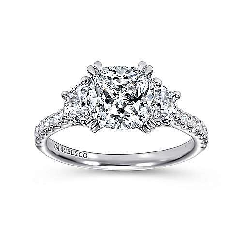 Monroe 14k White Gold Cushion Cut 3 Stones Engagement Ring angle 5