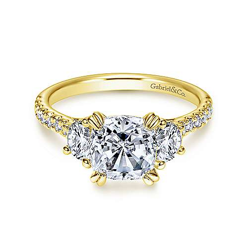 Monroe 14k Yellow Gold Cushion Cut 3 Stones Engagement Ring angle 1