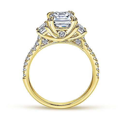Monroe 14k Yellow Gold Cushion Cut 3 Stones Engagement Ring angle 2