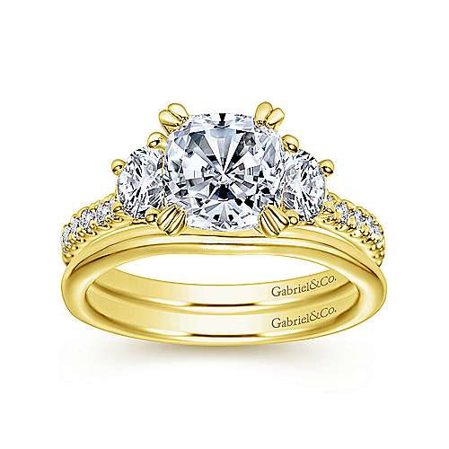 Monroe 14k Yellow Gold Cushion Cut 3 Stones Engagement Ring angle 4