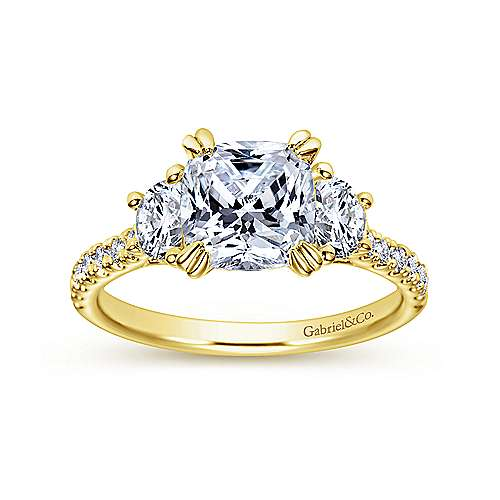 Monroe 14k Yellow Gold Cushion Cut 3 Stones Engagement Ring angle 5