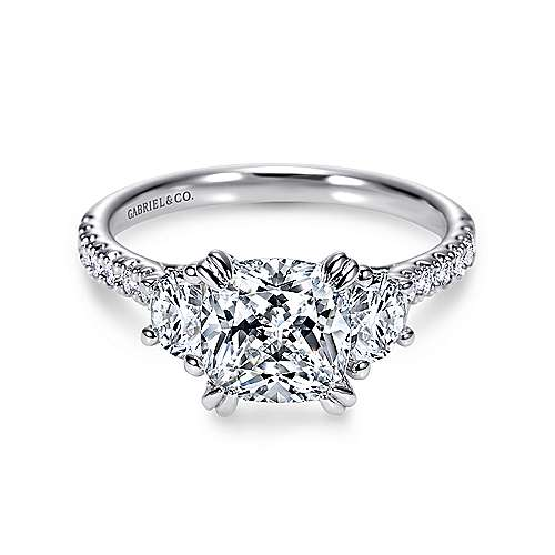 Gabriel - Monroe Platinum Cushion Cut 3 Stones Engagement Ring