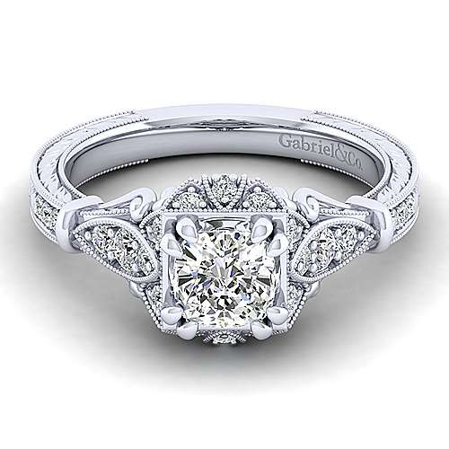 Gabriel - Montgomery 14k White Gold Cushion Cut Halo Engagement Ring