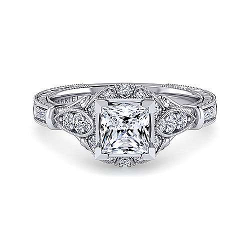 Gabriel - Montgomery 14k White Gold Princess Cut Halo Engagement Ring