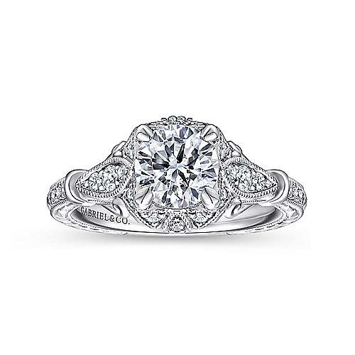 Montgomery 14k White Gold Round Halo Engagement Ring