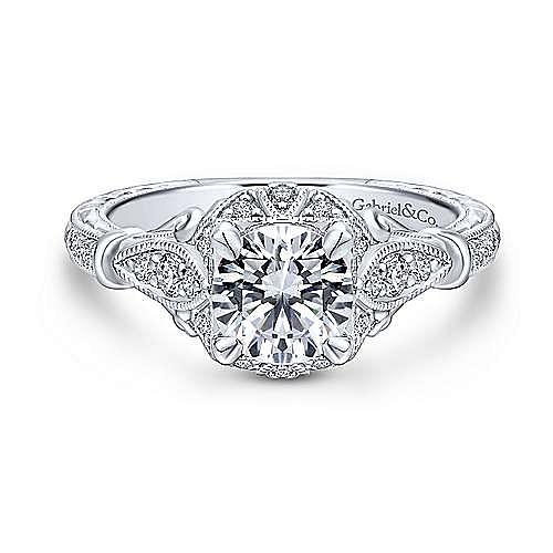 Gabriel - Montgomery 18k White Gold Round Halo Engagement Ring