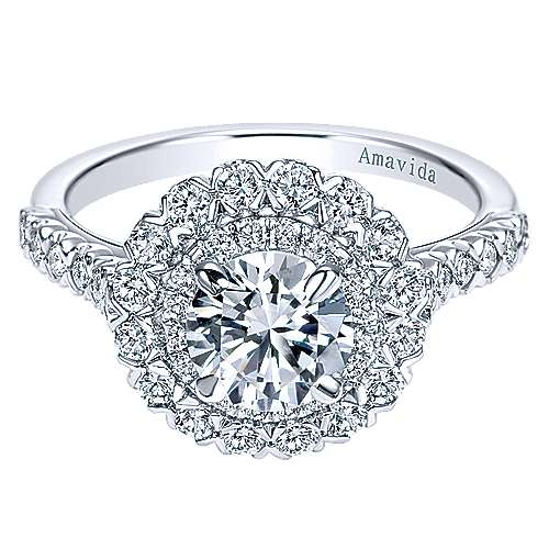 Gabriel - Moon 18k White Gold Round Double Halo Engagement Ring