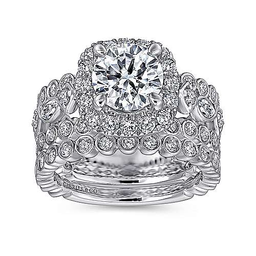 Moore 18k White Gold Round Halo Engagement Ring angle 4