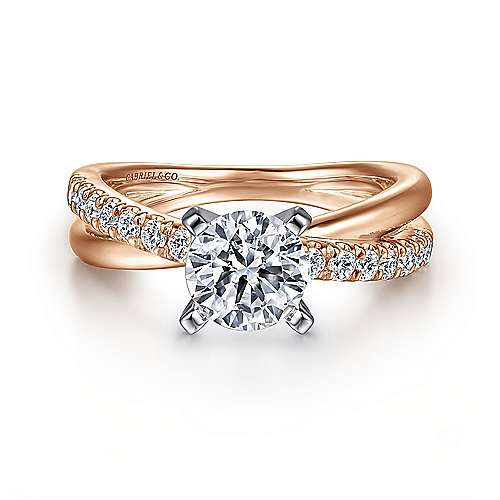 Gabriel - Morgan 14k White And Rose Gold Round Twisted Engagement Ring