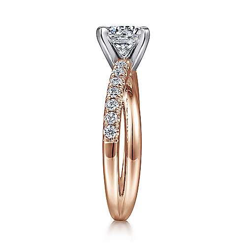 Morgan 14k White And Rose Gold Round Twisted Engagement Ring angle 5