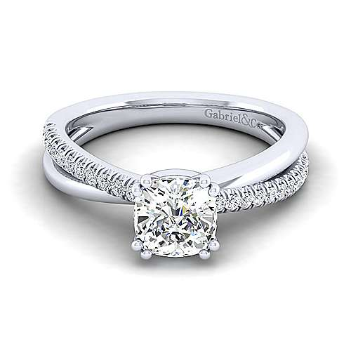 Gabriel - Morgan 14k White Gold Cushion Cut Twisted Engagement Ring