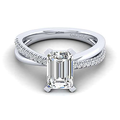 Gabriel - Morgan 14k White Gold Emerald Cut Twisted Engagement Ring