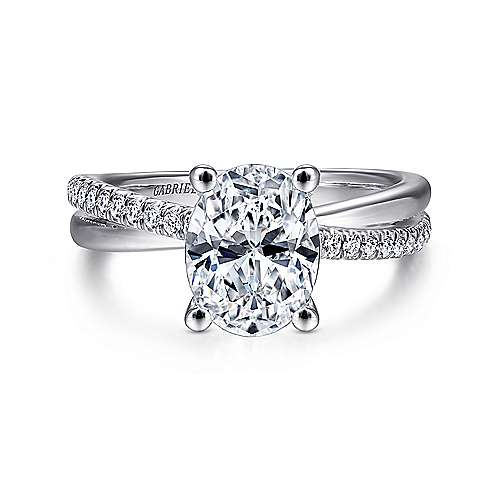 Gabriel - Morgan 14k White Gold Oval Twisted Engagement Ring