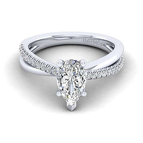 Gabriel - Morgan 14k White Gold Pear Shape Twisted Engagement Ring