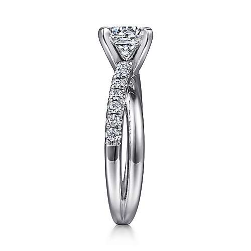 Morgan 14k White Gold Round Twisted Engagement Ring angle 5