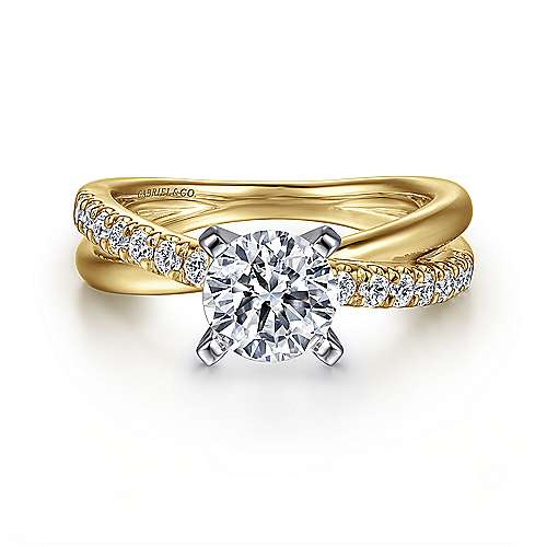 Gabriel - Morgan 14k Yellow And White Gold Round Twisted Engagement Ring