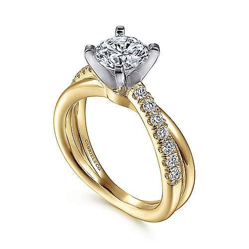 Morgan 14k Yellow And White Gold Round Twisted Engagement Ring angle 3