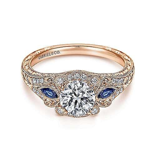Gabriel - Morningside 18k Rose Gold Round Halo Engagement Ring