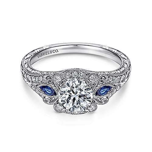 Morningside Platinum Round 3 Stones Halo Engagement Ring angle 1