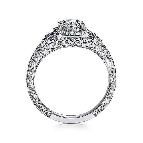 Morningside Platinum Round 3 Stones Halo Engagement Ring angle 2