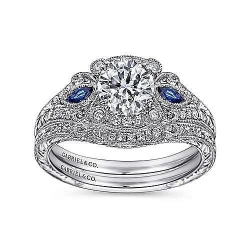 Morningside Platinum Round 3 Stones Halo Engagement Ring angle 4