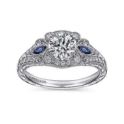 Morningside Platinum Round 3 Stones Halo Engagement Ring angle 5
