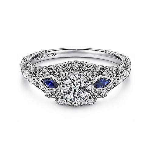 Gabriel - Morningside Platinum Round Halo Engagement Ring